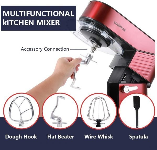 Red Stand Mixer With 6.5-Quart Stainless Steel Bowl
