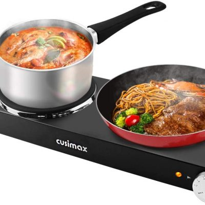 CUSIMAX 1800W Double Hot Plates, Cast Iron hot plates Black